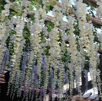 flores de organza de china al por mayor-Ideas de boda Wisteria gratis Elegante flor de seda artificial Wisteria Vine Decoraciones de boda 3 horquillas por pieza más cantidad más hermosa