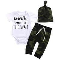 chicas del ejército pantalones al por mayor-Army Green Newborn Baby Girl Boy Clothes Romper T-Shirt Pantalones largos y trajes de sombrero 3Pcs Envío gratis