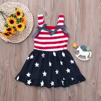 Wholesale 4th july dresses resale online - 4th of July Baby girl clothes Toddler Tank Dress Stripes Stars Bows Cute dresses Independence Day Summer