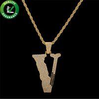 v gold brief großhandel-Herren Hiphop Schmuck Iced Out Anhänger Luxus Designer Anfangsbuchstabe Halskette Herren Gold Kette Anhänger Bling Diamant V Hip Hop Zubehör