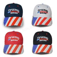 gorras de béisbol al por mayor-Gorra de béisbol Donald Trump 2020 Make America Great Again hat Star Stripe USA Flag print gorra deportiva al aire libre LJJA2954