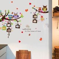 ingrosso adesivi a muro di vinile-2Pc Nursery Wall Stickers Vinilo per Bambini Camere Wall Sticker Cartoon Owl Diy rimovibile vintage poster per i bambini della camera da letto