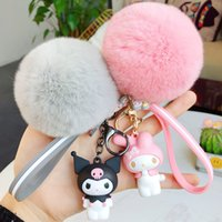 Wholesale frog keychains for sale - Group buy Cartoon KT frog doll Pompom keychains with fluffy fur ball keyring Kids Girls Pendant women Bag keychain charm gift