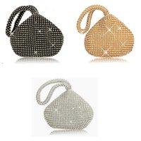 ingrosso sacchetti mini diamante-Eleganti borse da sera con diamanti per donna mini borsa da sera a forma di pochette da donna con pochette circolare