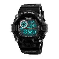 reloj sport hombre оптовых-SKMEI открытый спортивные часы мужчины будильник 5 бар водонепроницаемый военные часы светодиодный дисплей шок цифровые часы reloj hombre 1019 наручные часы