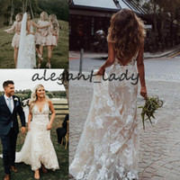 Wholesale simple country wedding dresses online - Bohemian Mermaid Bridal Wedding Gown Modest V neck Backless Sweep Train D Floral Country Summer Holiday Bridal Wedding Gown