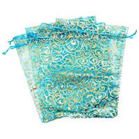 Wholesale organza bags flowers resale online - 25pcs Flower Organza Gift Bags Wedding Christmas Favour x23cm Sky blue