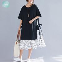 bayan pamuklu bornoz toptan satış-Artı Boyut Kadın Elbise Yaz vestidos Moda Baskı Polyester Dot Pamuk Kadın Lady Sundress Eklenmiş Siyah Gevşek Plaj Elbise 2019