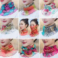 Wholesale turban shawl for sale - Group buy Women Summer Neck Face Wraps polyester Sun UV Protective Silk Shawl Scarf Bandana Turban Beach Tulle Sun Protection Scarf KKA7753