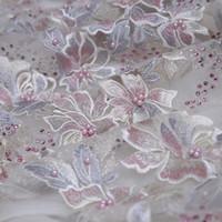 décoration de mariage perlé achat en gros de-3D fleur à la main perlé broderie dentelle DIY mariage / robe de soirée dentelle Cheongsam tissu vêtements accessoires de décoration pour la maison
