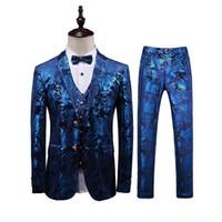 свадебные платья оптовых-3PC Men Suit Plus Size Wedding Dress Suit Men Clothing Brand New Slim Fit Casual Floral Suits Mens Business Formal Wear Tuxedo