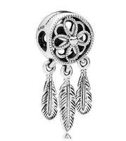 925 adet gümüş tüyü takılar toptan satış-Orijinal 925 Gümüş Charm Openwork Çiçek Tüy Ruhsal Beena kolye Boncuk Fit Bilezik Takı