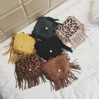 Wholesale kids girls designer handbags resale online - baby Leopard Fringe Messenger Bag kids girls children Tassel Crossbody Bag Hippie Tassel Handbag party favor Purses LJJA3683