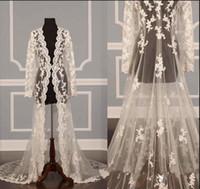 ingrosso spalline da sposa d'argento-Solovedress New Elegante lungo pizzo Appliques Wedding Jacket maniche lunghe Fatti a mano scialli da sposa Cape Sheer Coat Accessori da sposa