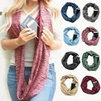 Wholesale infinity circle scarves online - Pocket Zipper Circle Shawl Scarves Colors Women Winter Convertible Infinity Scarf Soft Loop Scarf LJJO6177