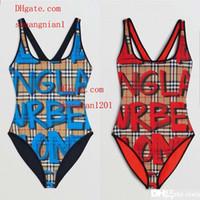 mulheres esportivas sexy vestidas venda por atacado-2019 Sexy swimsuit Carta impressão lattice One piece-mulher Swimsuit Bodysuit Esportes Aquáticos Maiô Praia mulher Biquíni roupas TG-6