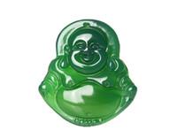 collar colgante de la suerte de buda de jade al por mayor-Joyería fina pura natural hecho a mano verde ágata suerte feliz risa Maitreya Buda colgante collar envío gratis
