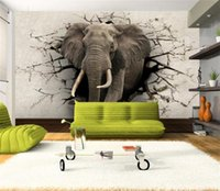 Wholesale Custom Size D Photo Wallpaper Kids Room Murals Elephant Wall Hole D Picture Backdrop Mural Home Decor Creative Hotel Study Wallpaper D