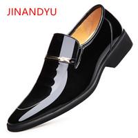 модные ботинки лифта оптовых-Patent Leather Business Men Shoes Groom Wedding Elevator Footwear Fashion  Mens High Heel Shoes Oxford Dress for Men
