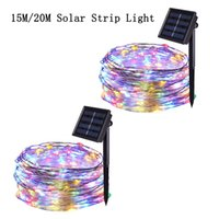 Wholesale decorative solar outdoor string lights for sale - Group buy LED Outdoor Solar Lamp LEDs String Lights Decorative Fairy RGB Solar Powered Copper Wire Light for Christmas Party Garden Room