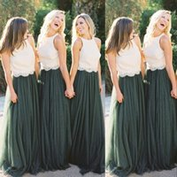 ingrosso primi paesi verdi-New Sexy Country Arabic Dark Green Bridesmaid Dresses Lace Top A Line Tulle Sleeveless Floor Length Custom Wedding Guest Maid Of Honor Gowns