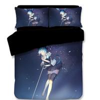 Wholesale king size fashion bedding for sale - Fashion Cool Blue black Hatsune Miku Kawaii girl Japanese Anime Bedding Set Single double size Bed Sheet Pillowcase Duvet Cover