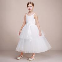 бальные платья для подростков оптовых-Последняя Коллекция Подросток Девушка Платье Бальное Платье Белый Тюль Дизайнер Платье С Цветком Причастие Платье
