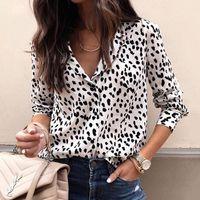 party-tops blusen großhandel-Mode Frauen Langarm-Leopard Bluse V-Ausschnitt Shirt Damen OL Partei Top Dames Street blusas femininas elegante Plus Size