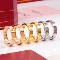 ouro anéis de noivado mulheres venda por atacado-Titanium amantes do desenhador da marca de aço anel de anel para as mulheres de luxo cz zirconia rose gold anéis de noivado homens jóias presentes ps8401