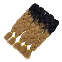 kanekalon al por mayor-Kanekalon Ombre Trenzado de pelo Trenzado sintético Trenzas Twist Ombre Dos tonos Jumbo trenzado Extensiones de cabello Más Colors24inch 500g / 5Pieces