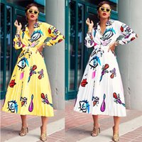Wholesale ladies white blouse short sleeve for sale - Group buy Women Big EYE Lips Printed Shirt and Pleated Dress Set Ladies Blouse Long Dresses Skirt Two Piece Elegent Suit Long Sleeve Clothes C71704