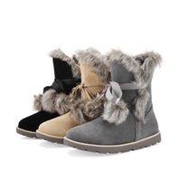 ingrosso pizzo australiano-Nuova Australia Esportazione di alta qualità Moda donna Stivali da neve Stivali in pelle vacchetta Inverno caldo Lace Up Feminina Bota Taglia 43