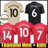 kit de pogba al por mayor-TOP FC Manchester Pogba camiseta de fútbol 2019 2020 LINGARD Lukaku Rashford camiseta de fútbol unido UTD 19 20 uniformes hombre + kids kit jerseys