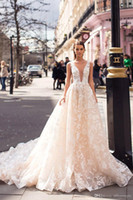 Wholesale custom made skirts resale online - Luxury Champagne A line Lace Wedding Dress With Deep V Neck Vintage Backless Appliqued Plus Size Sweep Train Bridal Gown Custom Made BC2177
