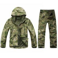 terno à prova de vento do exército venda por atacado-Venda Hot Men Army Tactical Militar Outdoor Sports Suit Caça Camping Escalada impermeável à prova de vento TAD Sharkskin Jacket + Pants T190919
