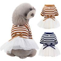 Wholesale dogs tutu clothes resale online - Pet Dog Stripes Pearls Gauze Tutu Dress Skirt Puppy Cat Princess Dress Clothes Cotton Short Sleeves T shirt Apparel