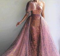 vestidos curtos de um ombro coloridos venda por atacado-Um Ombro Sereia Vestidos de Baile 2020 Colorido Trem Destacável Manga Curta Árabe Festa Formal Vestidos de Noite Vestido De Gala