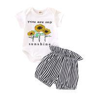 çiçek zebrası toptan satış-Bebek Çiçek Romper Takım Çocuk Tasarımcı Giyim Kız Karikatür Ayçiçeği Romper Çizgili Şort Bebek Kıyafetleri Toddler Kız Giyim Seti Tops