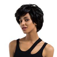 косплей парики женщин оптовых-Women Real Human Hair Short Wigs Curly Black Natural Synthetic Fiber Straight Hair Wigs Cosplay Full Wig 2M81206