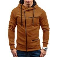 hoodies sweatshirt tops dış giyim toptan satış-Erkek Uzun Kollu Hoodie Kazak Sonbahar Kış Casual Zip Yukarı Dış Giyim Tişörtü sudaderas para hombre Erkekler Giyim Tops