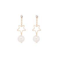 Wholesale korean star glasses resale online - Fairy Tale Dream Glass Ball Earrings Female Korean Sweet Geometry Hollow Star Czech Drill Ear Nail E940
