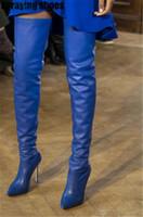mavi diz yüksek bot kadın toptan satış-Moda Mavi Uyluk Yüksek Çizmeler Kadın Kış Deri Kasık Yüksek Çizmeler Sivri Burun Seksi Bayanlar Stiletto Diz Üzerinde Topuk
