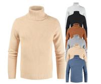 camisas de cuello alto slim fit al por mayor-Calentar causales para hombre de cuello alto suéter de cuello alto suéter Hombre Slim Fit camisa de los hombres de punto suéteres de los géneros de punto