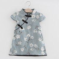 roupa da menina das meninas da menina venda por atacado-Cheongsam durante a republi da china crianças baby girl floral midi dress casual princesa vestido de festa roupas