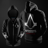 ingrosso assassin creed hoodie nero-2017 Autunno Inverno Assasins Creed Hoodie Uomo Nero Cosplay Felpa costume foderato in pile Assassins Creed Mens Hoodies Jackets