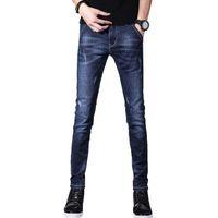 jeans de moda británica al por mayor-Estilos hombre del diseñador Jean británicos Plancha Moda La larga delgada de moda juvenil pantalones lavados Pies ocasional por un mayorista de otoño 2019 de 2 colores