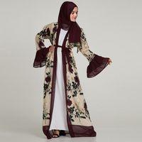arapça kadın abaya toptan satış-2019 Tasarım Zarif Müslüman Robe Kadınlar Dubai kaftan Rahat Abaya Chifffon Nakış Çiçek Arapça türkiye İslam Namaz elbiseler