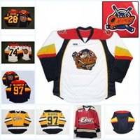 fuchsstickerei groihandel-Mens Erie Otters 74 Däne Fox 97 Connor McDavid 28 Connor Brown 100% Stickerei cusotm irgendein Name irgendeine Zahl Hockey Jerseys Marine-Weiß-Gelb