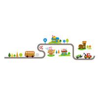 los niños juegan arte en casa al por mayor-147x40 cm Decoración para el hogar Vehículo de dibujos animados de coches Hermosas decoraciones Sala de juego Colorido Dormitorio de los niños Adhesivo Art Decal Etiqueta de la pared