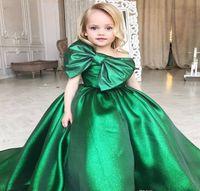 vestido de bola verde para crianças venda por atacado-Bonito Verde Esmeralda Meninas Pageant Vestido Princesa Crianças Criança Partido Prom Ball Gown Curto Bonito Para O Miúdo